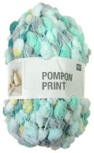 Pelote pompon print turquoise-mix 028