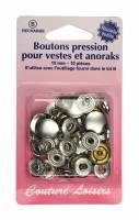 BOUTONS PRESSION VESTE + ANORAK ARGENT H407R.N